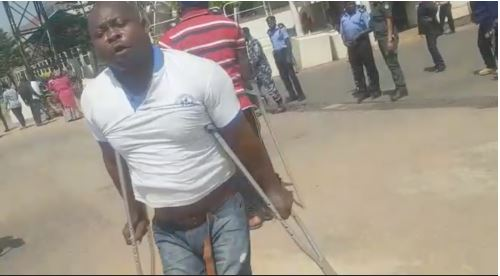 Drama As Disabled People Obstruct NNPC Headquarters In Puzzling Protest (Photos)
