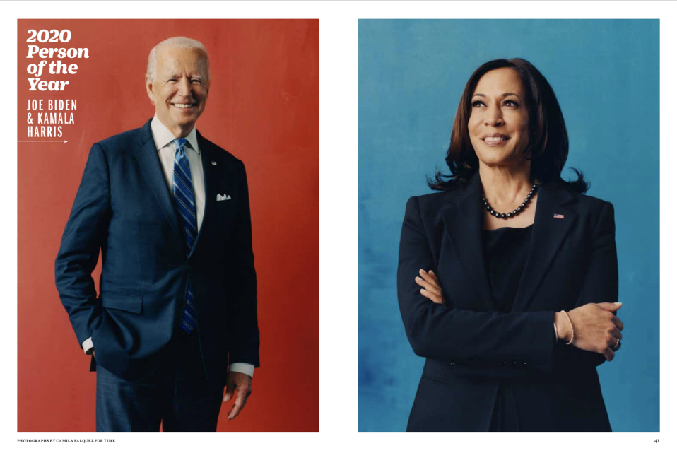 Biden joins a long list of fellow presidents who've been named TIME's Person of the Year. Harris is the first vice president to be given the distinction. (Photographs by Camila Falquez for TIME / Courtesy of TIME)