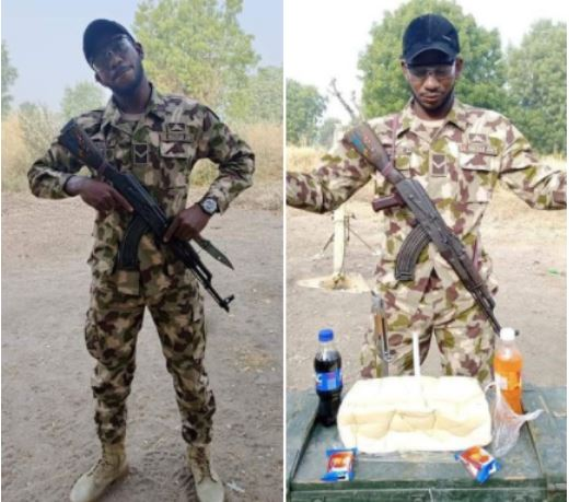 Check Out How A Soldier Serving In Borno State Celebrated His Birthday (Photos)