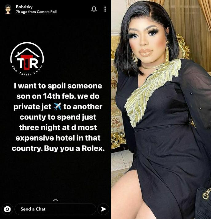 Crossdresser, Bobrisky Says He Want To Spoil Someone's Son On Valentine's Day 2