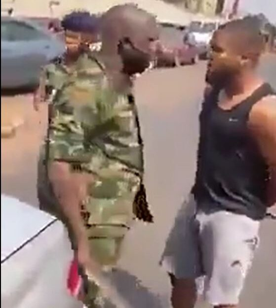 Nigerian Soldier Slaps Footballer, Brings Out Cutlass After Being Questioned for Following Wrong Way (Video)