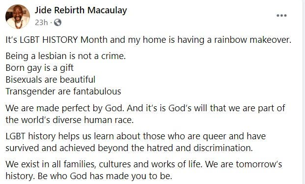 """""""Born Gay Is A Gift, Being Lesbian Is Not A Crime"""" - Pastor Jide Macaulay Declares 2"""