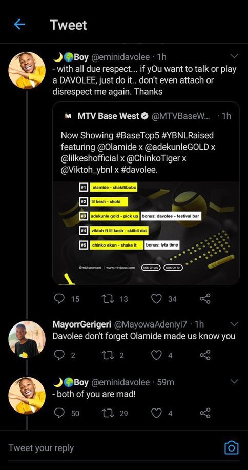 Nigerians Reacts As Former YBNL Rapper, Davolee Calls Olamide A 'Mad Man' 2