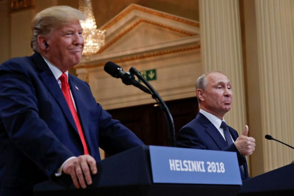 Russian President Vladimir Putin and President Donald Trump give a joint news conference at the Presidential Palace in Helsinki, Finland, on July 16, 2018.