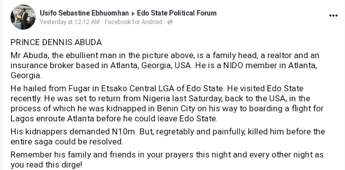 US-Based Nigerian Man Murdered By Edo Kidnappers On His Way To Lagos Airport 2