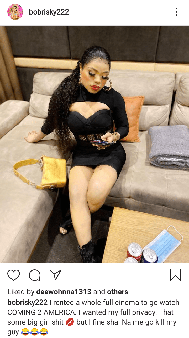 Bobrisky Claims He Rented Entire Cinema Just To Watch 'Coming To America 2' 2