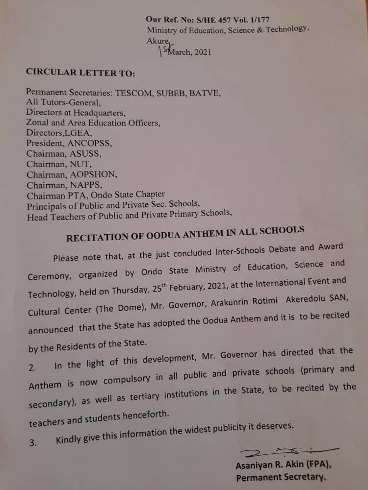 Governor Akeredolu Orders Compulsory Recitation Of Oodua Anthem In All Ondo Schools 2