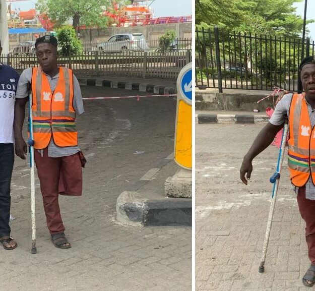 Man Seeks For Support To Get Prosthetic Leg For Hard-working Lagos Traffic Warden