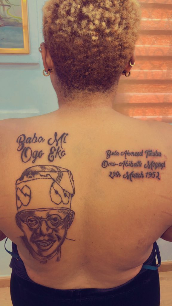 Nigerian Lady Tattoos Bola Tinubu's Face, Name And Date Of Birth On Her Back [Photos] 2