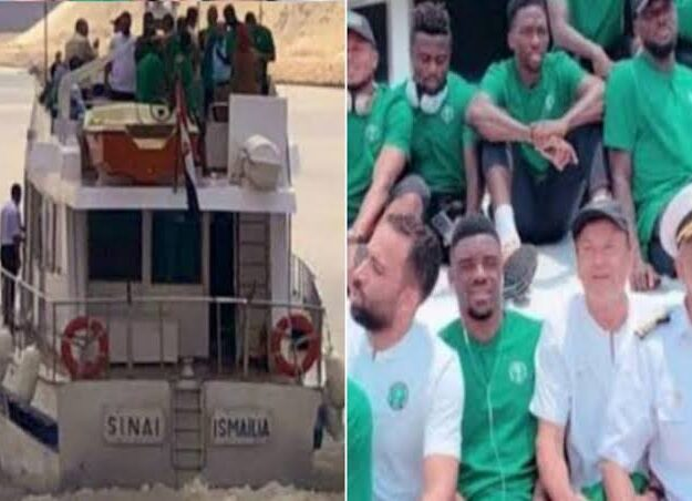 Nigeria's Super Eagles Arrives Benin Republic By Boats Ahead Of AFCON Qualifiers [Photos/Video]
