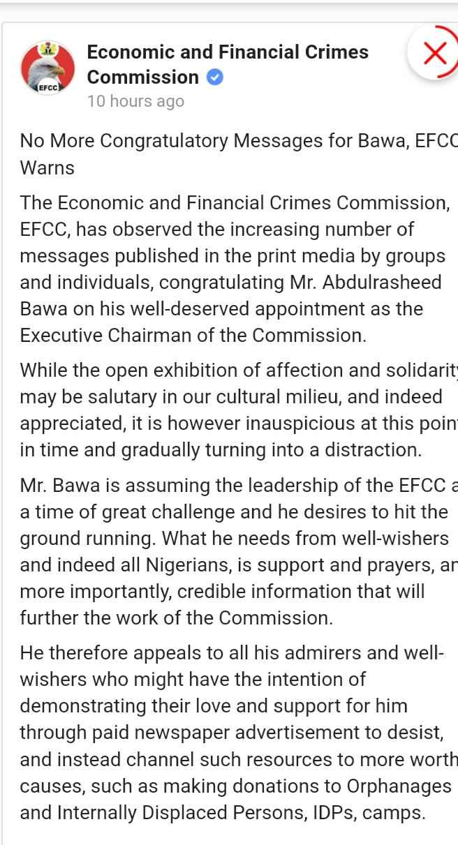Stop Sending Congratulatory Messages To Abdulrasheed Bawa – EFCC Warns Nigerians 2