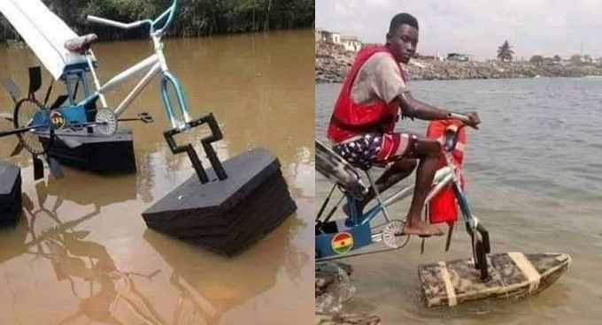 Student Builds Floating Bicycle For Kids Living In Riverine Areas [Photos] 1