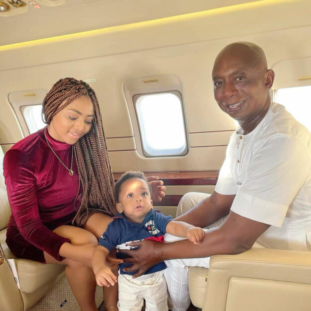 Too Much Money! Regina Daniels Pictured With Her Billionaire Husband And Son Inside Private Jet