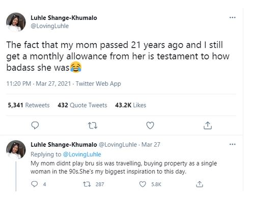 Twitter User Reveals That She Still Receives Monthly Allowance From Her Mother Who Passed Away 21 years ago