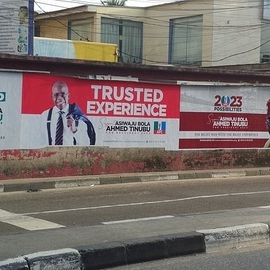 2023 Presidential Election: Tinubu's Posters Spotted In Ikoyi, VI & Allen (Photos)