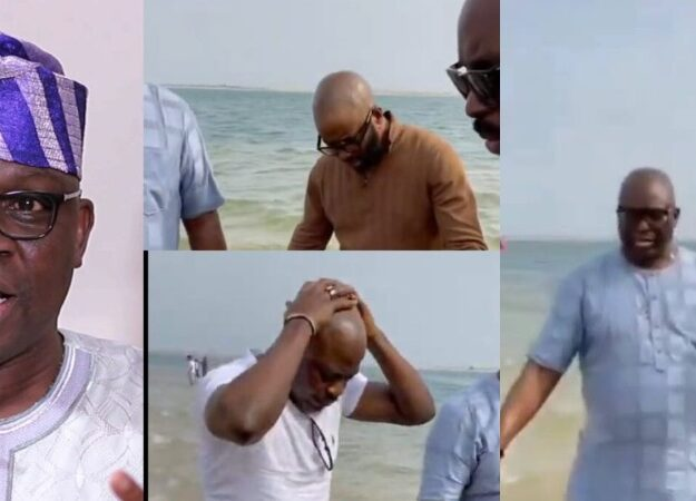 Ayodele Fayose And His Family Seen Publicly Praying At The Beach Against Evil Plans [Video]