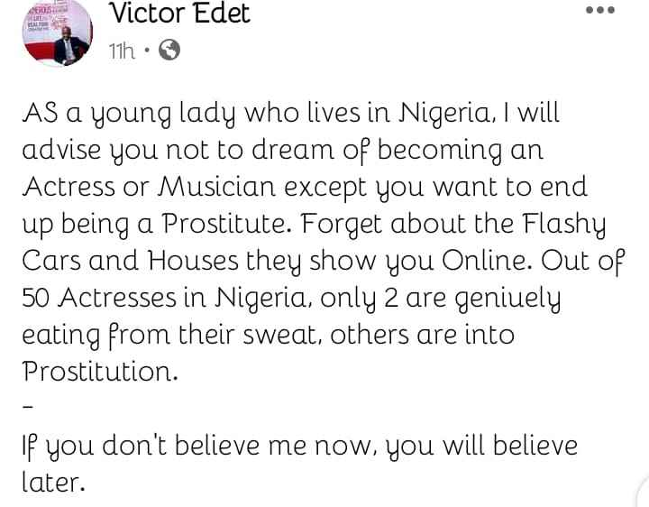 Evangelist Victor Edet Claims 99 Percent Of Nigerian Actresses Are Into Prostitution 2