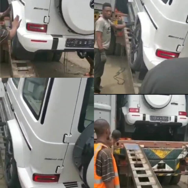 Funny Video Of Man Begging Profusely As A 2021 G-Wagon Gets Offloaded From A Container (Video)