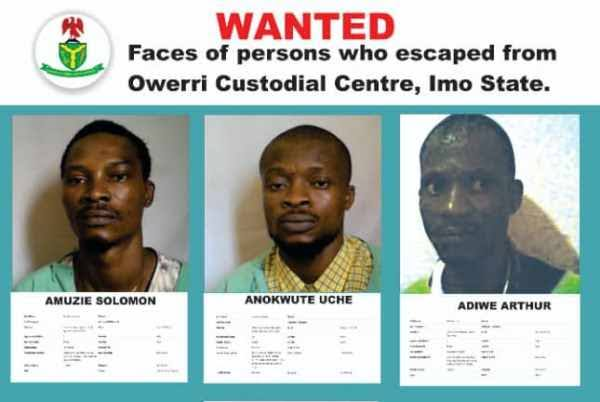 Imo Jailbreak: NSC Releases Names And Pictures Of Inmates Who Escaped Owerri Prison