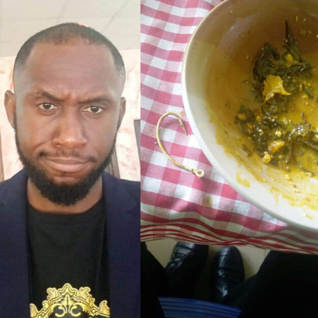 Man Shows The Fish Hook He Found In The Soup He Was Served at a Restaurant (Photos)