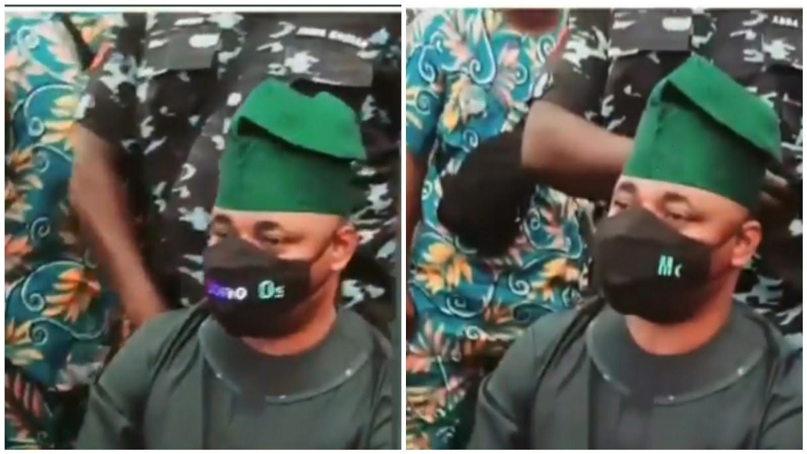 MC Oluomo flaunts electronic facemask at an event