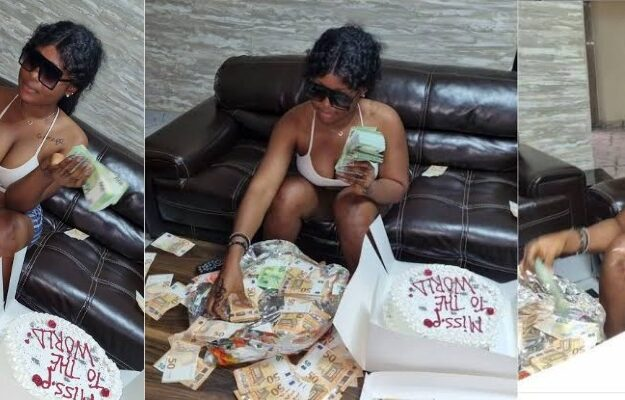 Nigerian Lady Flaunts N24m In Foreign Currency Her Boyfriend Gave Her As Birthday Gift [Video]
