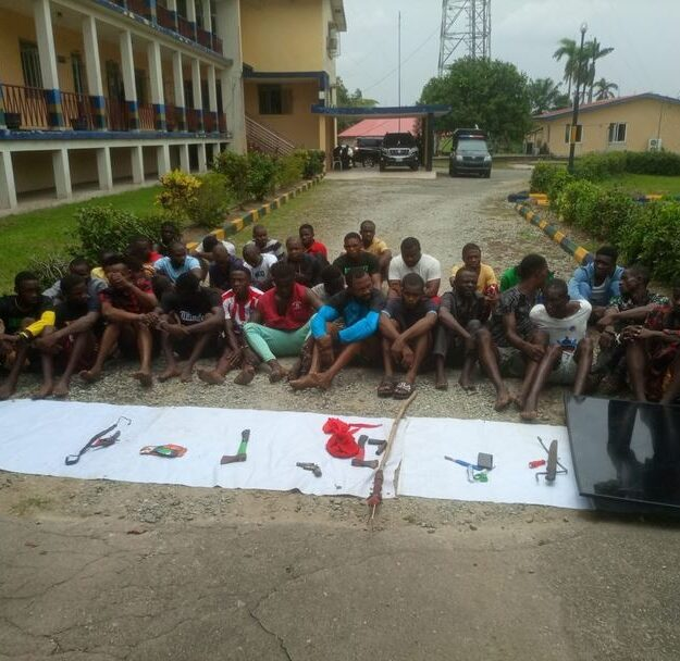 Police Arrest 34 Suspects, Recovers Weapons In Cross River (Photo)