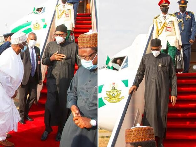 President Buhari Returns To Nigeria After UK Medical Trip [Photos]