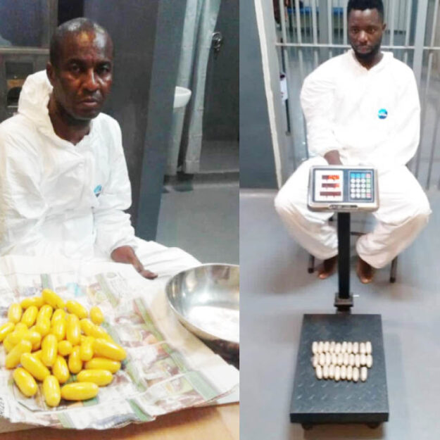 Traffickers excrete 191 pellets of cocaine, heroin at Lagos airport