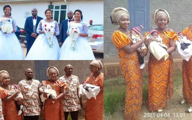 Triplets Who Married Same Day In Enugu, Welcome Baby Boys Within Same Period [Photos]