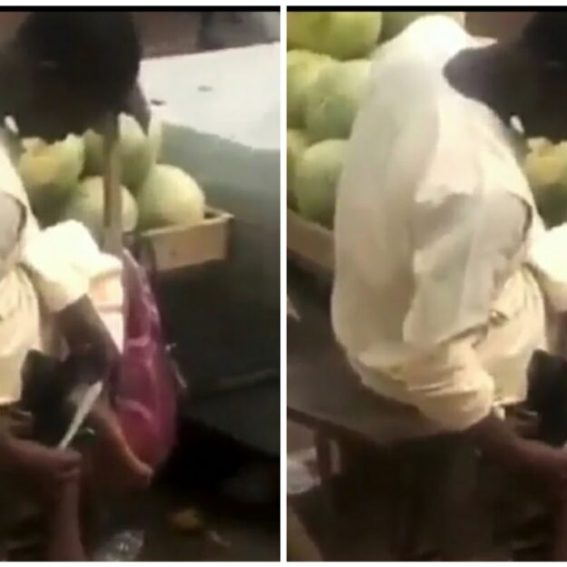 Fruit Seller Caught Using Knife Used In Cutting Watermelon To Scrape His Feet [Video]