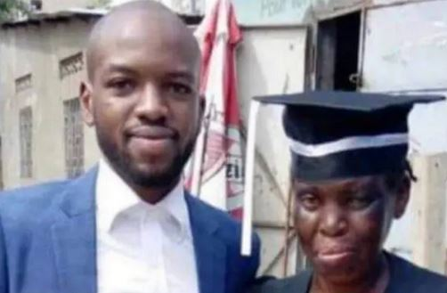 Heartwarming Photo Of Bread Seller Wearing Her Son's Graduation Gown As He Bags A Law Degree