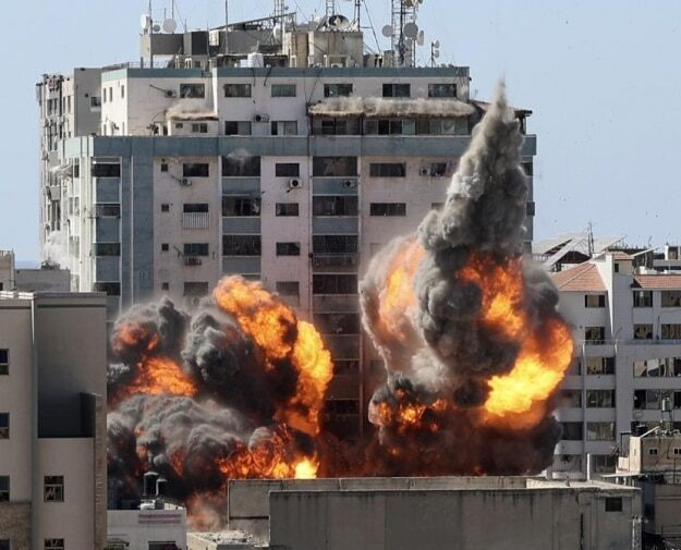 Israeli air raid flattens Gaza building housing Al Jazeera