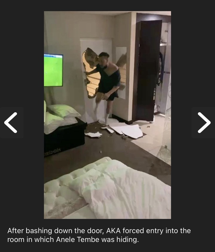 Photos of Rapper AKA Surfaced Online Showing How He violently Broke Down A Bedroom Door where his Latelate Fiancé, Nelli Tembe Hid During Their Fight. 2