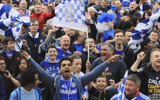 The Blues fans celebrate as Chelsea edge closer to their second UEFA Champions League title