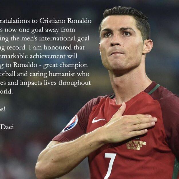 Ali Daei Congratulates Ronaldo As He Equals Men Goalscoring Record