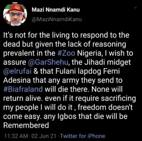 BREAKING: Twitter Deletes Nnamdi Kanu's 'Genocidal' Tweet