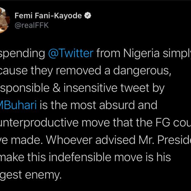 FFK Slams Buhari For 'Illegaly' Suspending Twitter In Nigeria
