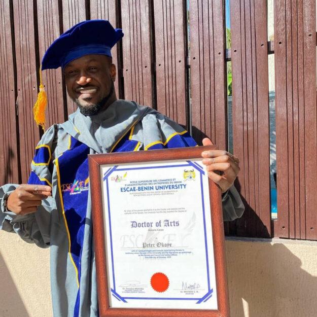 Wow! Singer, Peter Okoye, Bags Honorary Doctorate Degree From Escae-Benin University