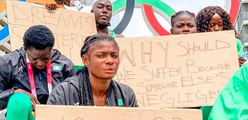 Nigerian Athletes Disqualified From Olympics Stages Protest In Tokyo [Photos] 1