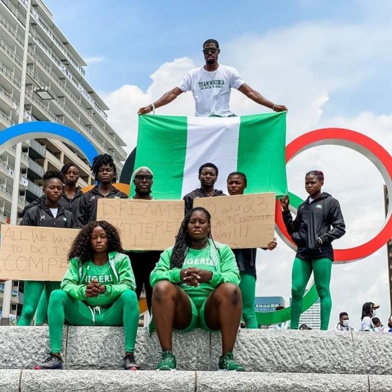 Nigerian Athletes Disqualified From Olympics Stages Protest In Tokyo [Photos] 6