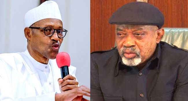 A file photo combination of President Muhammadu Buhari and Minister of Labour and Employment Chris Ngige.