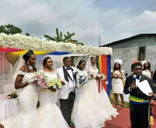 Wow! Businessman Marries Four Women At The Same Time (Photos)