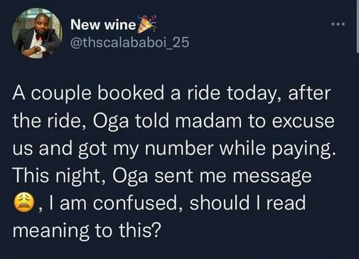 Cab Driver Shares Message He Received From A Man Who Booked A Ride With Him With His Wife