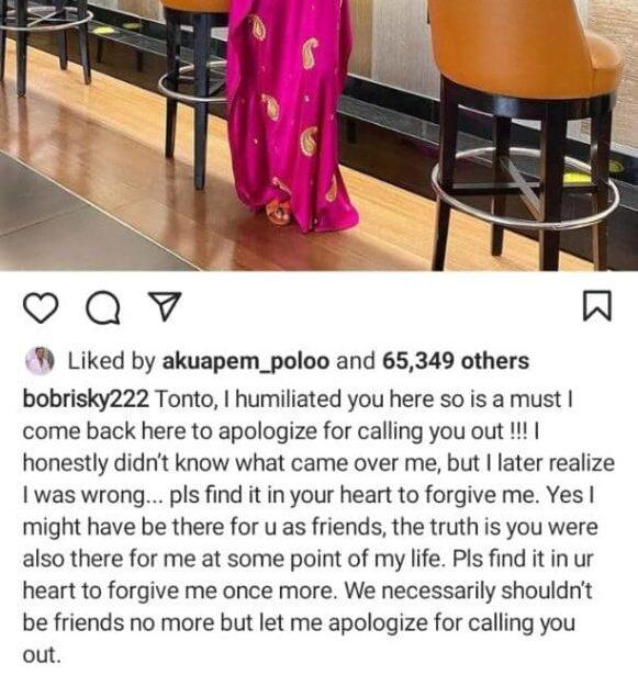 Crossdresser Bobrisky seeks actress Tonto Dikeh's forgiveness