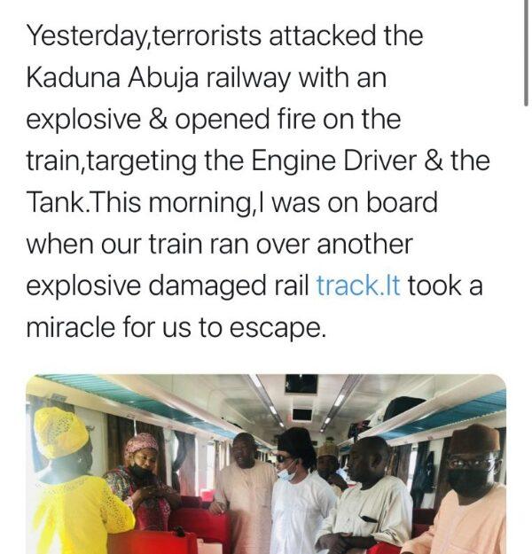 Suspected bandits bomb Kaduna-Abuja train, Shehu Sani alleges